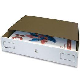 Pressel Schubladenbox, mit 1 Schublade, A3, 335x455x110mm, dunkelbraun/weiß