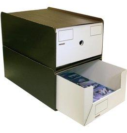 Pressel Schubladenbox, mit 1 Schublade, A4, 258x347x145mm, dunkelbraun/weiß