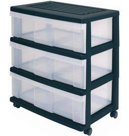 Schubladenbox, mit 3 Schubladen, 690 x 410 x 600 mm, schwarz/weiß