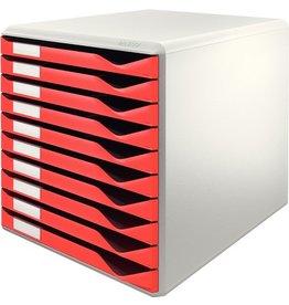 LEITZ Schubladenbox, PS, mit 10 Schubladen, A4, lichtgrau/rot