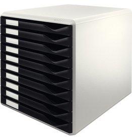 LEITZ Schubladenbox, PS, mit 10 Schubladen, A4, lichtgrau/schwarz