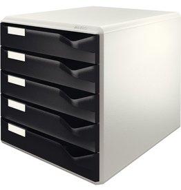 LEITZ Schubladenbox, PS, mit 5 Schubladen, A4, lichtgrau/schwarz