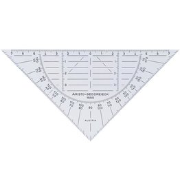 ARISTO Geodreieck, PVC, ohne Griff, Hypotenuse: 16 cm, transparent
