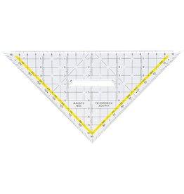 ARISTO TZ-Dreieck, mit Facette, mit Griff, Hypotenuse: 22,5 cm, glasklar