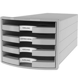 HAN Schubladenbox IMPULS, m.4 off.Schubladen, A4/C4, lichtgrau