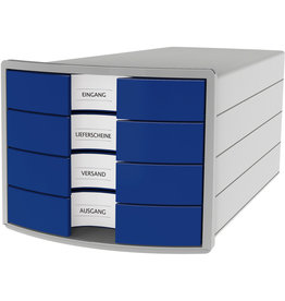 HAN Schubladenbox IMPULS, m.4 geschl.Schubladen, A4/C4, lichtgrau/blau
