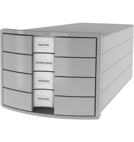 HAN Schubladenbox IMPULS, m.4 geschl.Schubladen, A4/C4, lichtgrau
