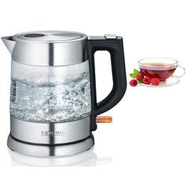 SEVERIN Wasserkocher WK 3468, Glas/Edelstahl, 1 l, edelstahl/transparent
