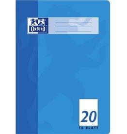 Oxford Schulheft, Lin.: 20, blanko, A4, Einband: hellblau, 16 Blatt