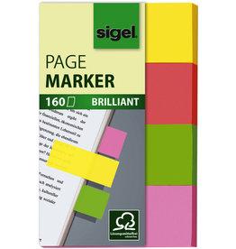 sigel Haftmarker BRILLIANT, 50 x 20 mm, 4farbig sortiert, 4 x 40 Blatt