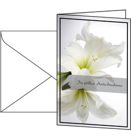 sigel Designkarte, Trauer, 11,5 x 17 cm, weiße Amaryllis
