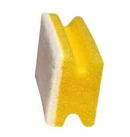 Meiko Reinigungsschwamm, mit Griffrille, kratzfrei, 15x7x4,5cm, gelb/weiß