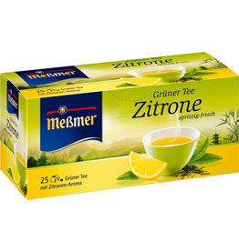 Meßmer Grüner Tee, ZITRONE, spritzig-frisch, Beutel kuvertiert, 25 x 1,75 g