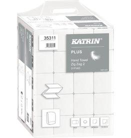 KATRIN Papierhandtuch, PLUS Zig Zag 2, 2lagig, V-Falz., 23 x 22,4 cm, weiß
