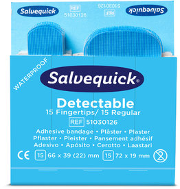 Salvequick Pflaster Detectable, 6 x 30 Stück, sortierte Größen, blau
