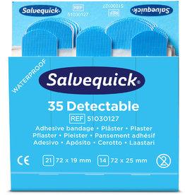 Salvequick Pflaster Detectable, 6 x 35 Stück, sortierte Größen, blau