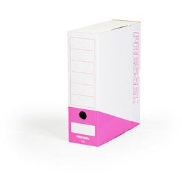Pressel Archivbox, Steckverschluss, A4, 10x26x32cm, weiß/pink
