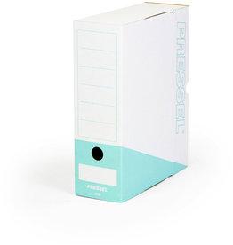 Pressel Archivbox, Steckverschluss, A4, 10x26x32cm, weiß/türkis