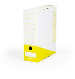Pressel Archivbox, Steckverschluss, A4, 10x26x32cm, weiß/gelb
