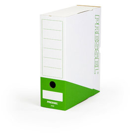 Pressel Archivbox, Steckverschluss, A4, 10x26x32cm, weiß/dunkelgrün