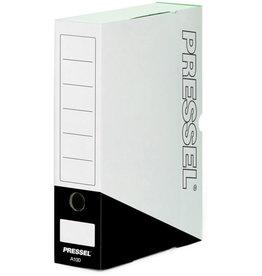 Pressel Archivbox, Steckverschluss, A4, 10x26x32cm, weiß/schwarz
