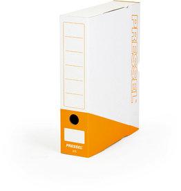 Pressel Archivbox, Steckverschluss, A4, 7,5x26x32cm, weiß/orange