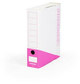 Pressel Archivbox, Steckverschluss, A4, 7,5x26x32cm, weiß/pink