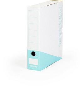 Pressel Archivbox, Steckverschluss, A4, 7,5x26x32cm, weiß/türkis