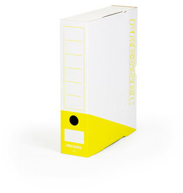 Pressel Archivbox, Steckverschluss, A4, 7,5x26x32cm, weiß/gelb
