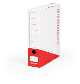Pressel Archivbox, Steckverschluss, A4, 7,5x26x32cm, weiß/rot
