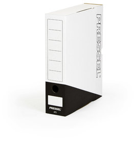 Pressel Archivbox, Steckverschluss, A4, 7,5x26x32cm, weiß/schwarz