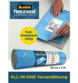 Scotch Luftpolsterfolie Flex & Seal, 38 cm x 3 m, blau