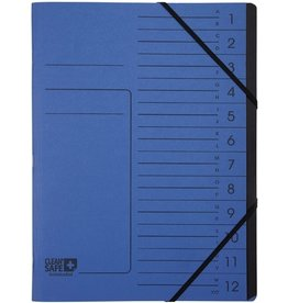 EXACOMPTA Ordnungsmappe Clean´Safe, Karton, Eckspanngummi, A4, 12 Fächer, blau