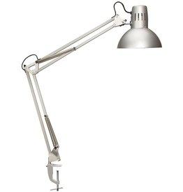 MAUL Tischleuchte, MAULstudy, mit Tischklemme, Energiesparlampe, silber