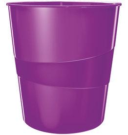LEITZ Papierkorb WOW, PS, rund, 15 l, 290 x 324 mm, violett