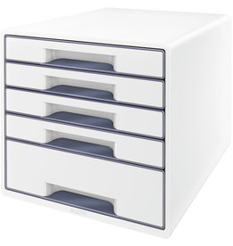 LEITZ Schubladenbox WOW CUBE, mit 5 Schubladen, A4+, weiß/grau