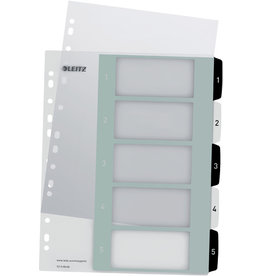 LEITZ Register WOW, PP, 1 - 5, A4, überbreit, 5 Blatt, schwarze/weiße Tabe