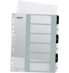LEITZ Register WOW, PP, 1 - 6, A4, überbreit, 6 Blatt, schwarze/weiße Tabe
