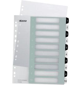 LEITZ Register WOW, PP, 1 - 10, A4, überbreit, 10 Blatt, schwarze/weiße Tabe