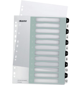 LEITZ Register WOW, PP, 1 - 12, A4, überbreit, 12 Blatt, schwarze/weiße Tabe