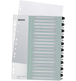 LEITZ Register WOW, PP, 1 - 20, A4, überbreit, 20 Blatt, schwarze/weiße Tabe