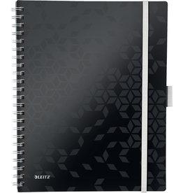 LEITZ Collegeblock WOW Be Mobile, kariert, A4, Einband: schwarz, 80 Blatt