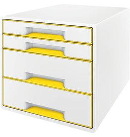 LEITZ Schubladenbox WOW CUBE, mit 4 Schubladen, A4+, weiß/gelb