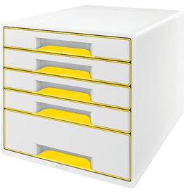 LEITZ Schubladenbox WOW CUBE, mit 5 Schubladen, A4+, weiß/gelb