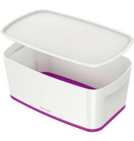 LEITZ Aufbewahrungsbox MyBox® WOW, Klein, ABS, mit Deckel, 5 l, weiß/violett