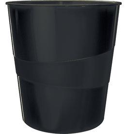 LEITZ Papierkorb WOW, PS, rund, 15 l, 290 x 324 mm, schwarz