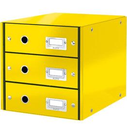 LEITZ Schubladenbox Click & Store WOW, mit 3 Schubladen, A4, gelb