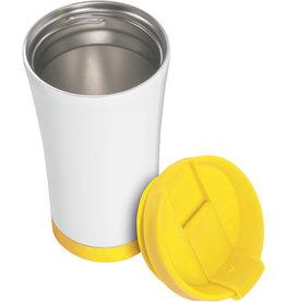 LEITZ Thermobecher WOW, Mehrweg, Edelstahl, rund, 380 ml, weiß/gelb