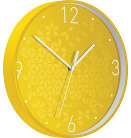 LEITZ Wanduhr WOW, Ø: 29 cm, Kunststoff, gelb/weiß, Ziffernblatt