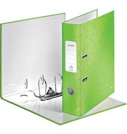 LEITZ Ordner WOW, Graupappe, SK-Rückenschild, mit Griffloch, A4, 80 mm, grün